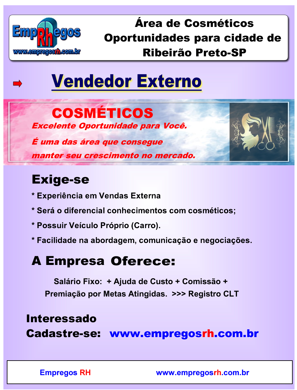 Vendedor(a) Externo(a) Cosméticos