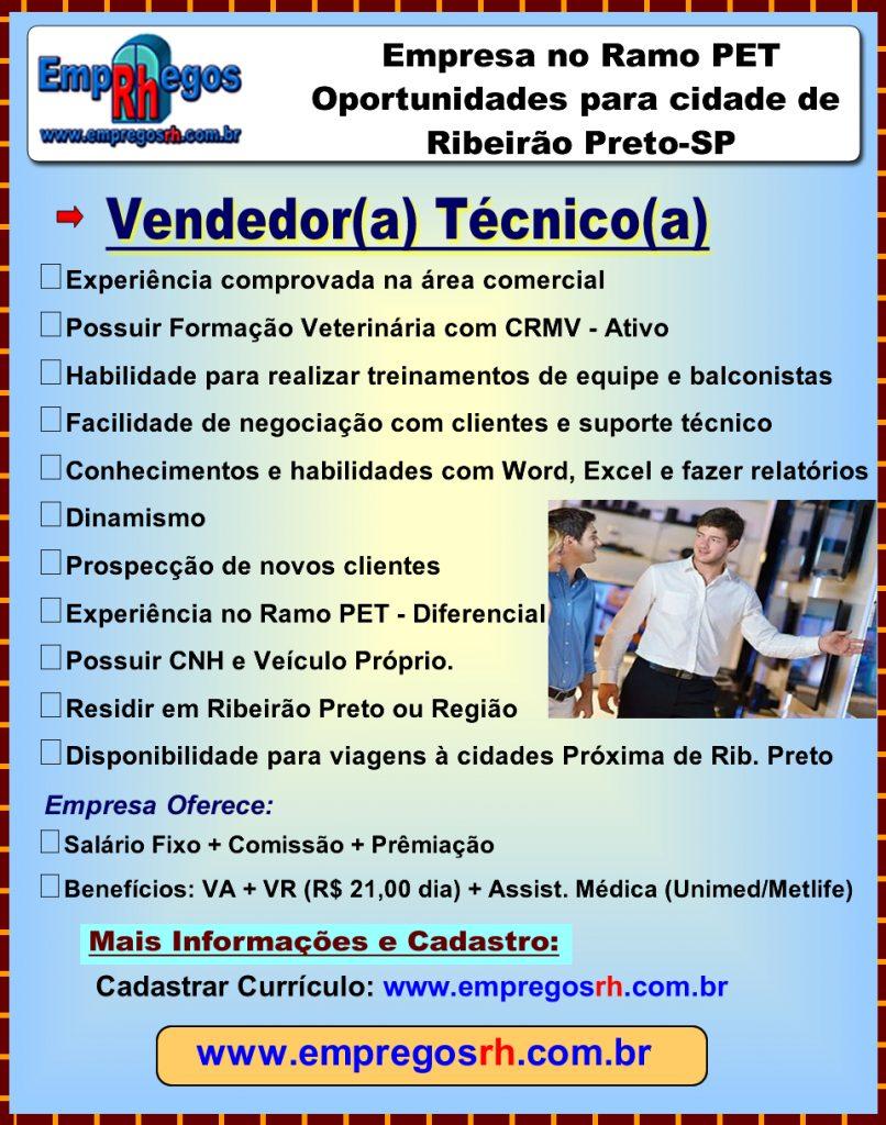Vaga de Vendedor(a) Técnico(a) - Ribeirão Preto