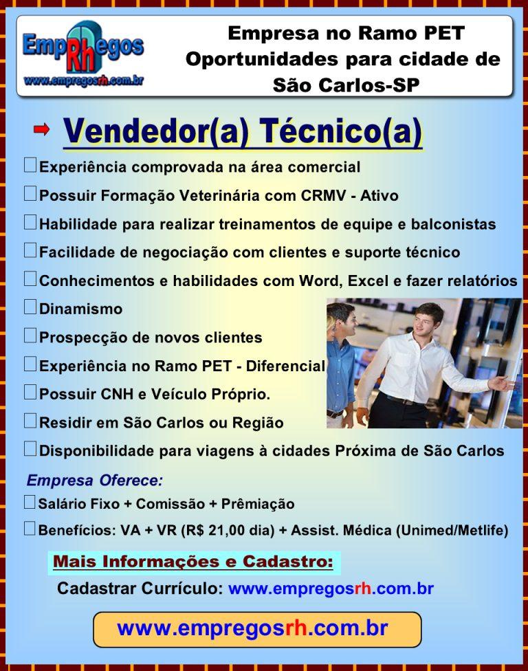 Vaga Vendedor(a) Técnico(a) São Carlos
