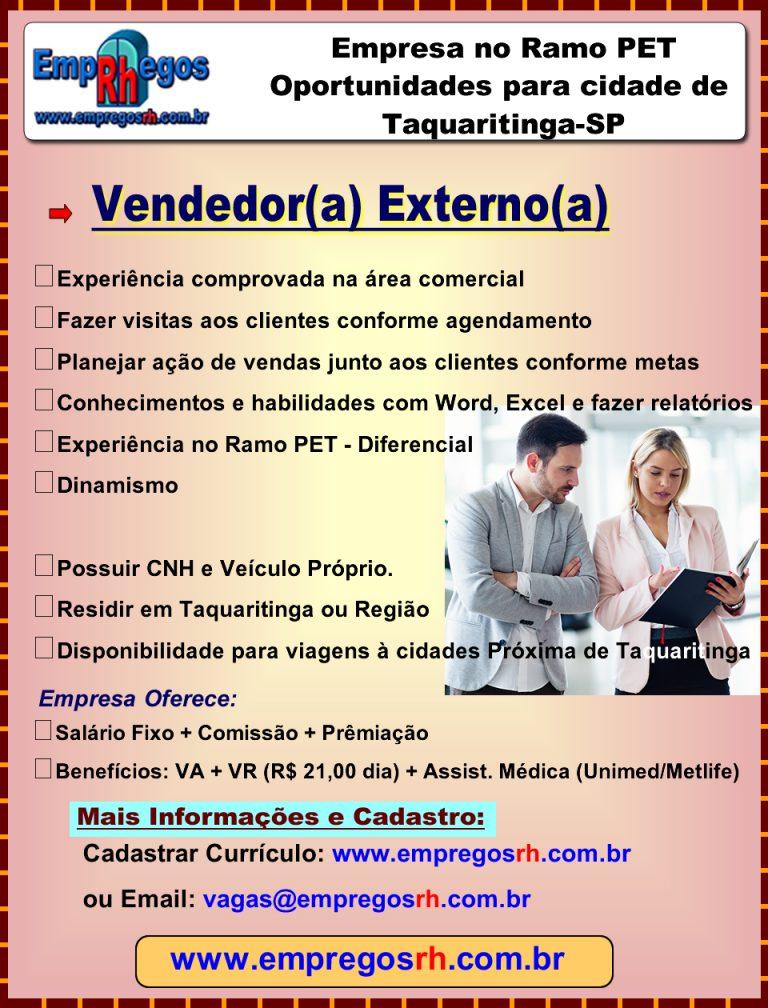 Vendedor(a) Externo(a) - Taquaritinga Ramo PET