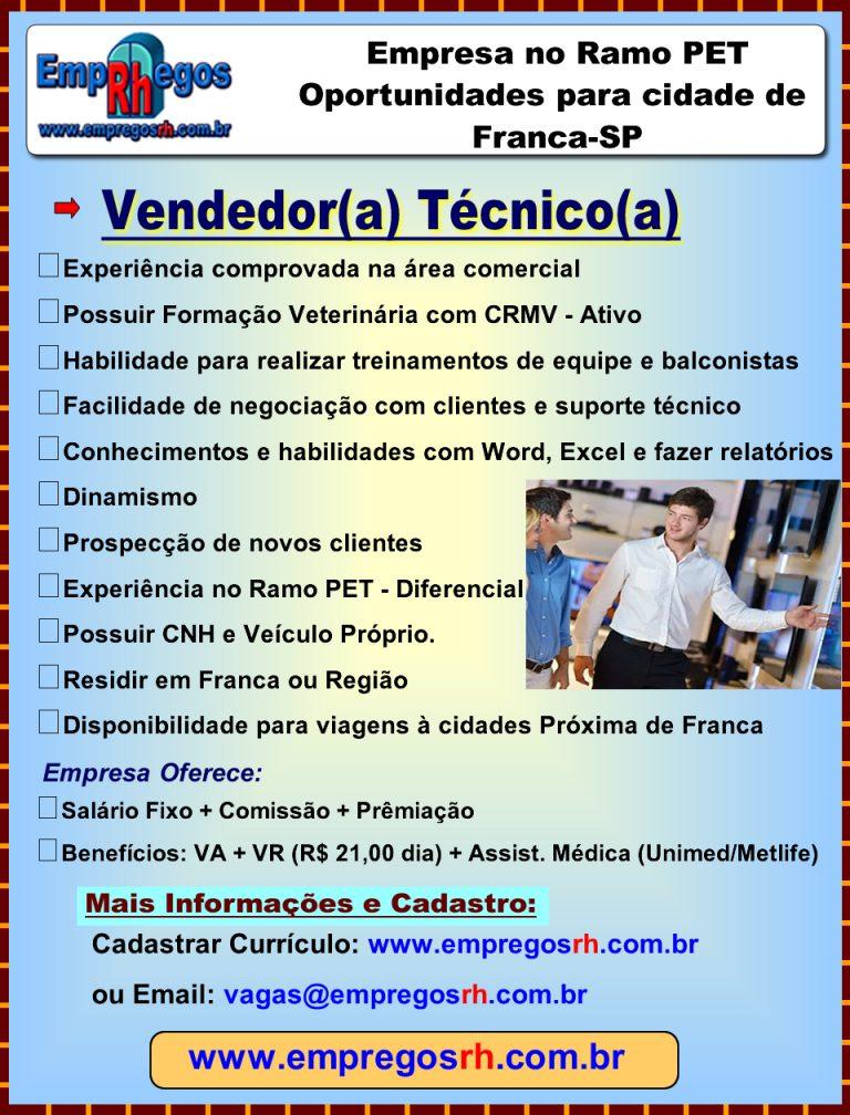 Vendedor(a) Técnico(a) Franca (Veterinário)