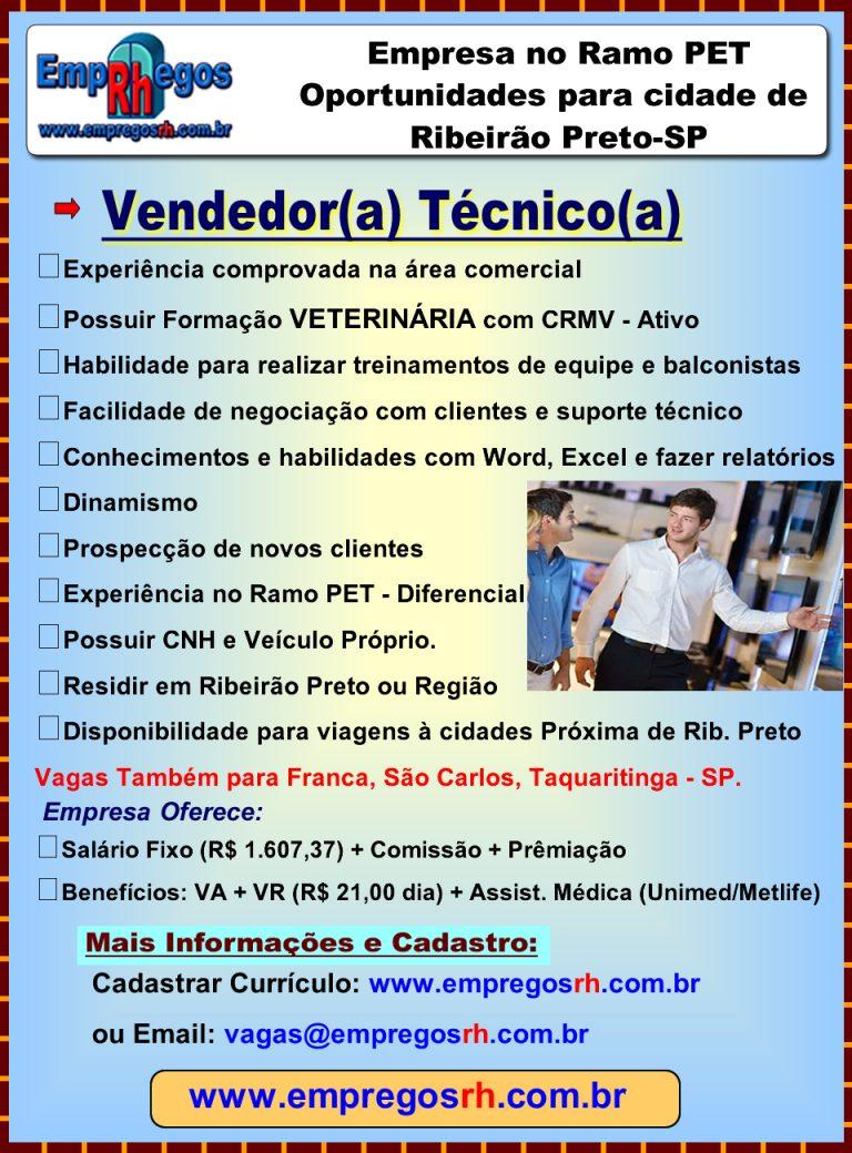 Vendedor Técnico - Graduação em Veterinária