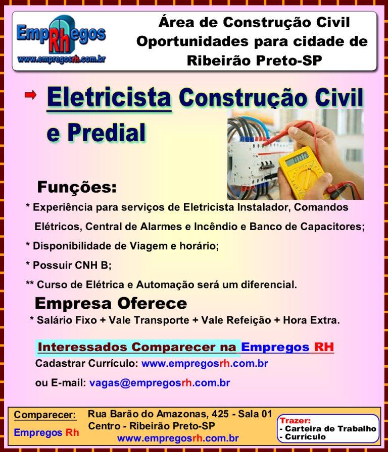 Vaga de Eletricista Construção Civil e Predial